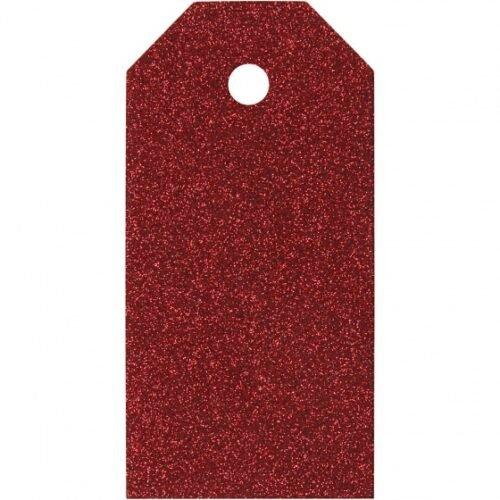 Foto van Labels glitter 15 stuks 5 x 10 cm rood karton