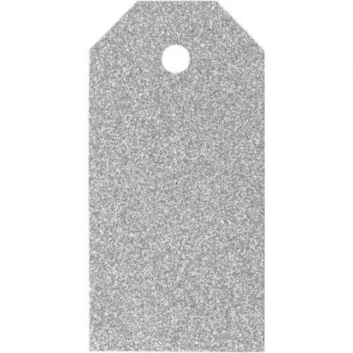 Foto van Labels glitter 15 stuks 5 x 10 cm zilver karton